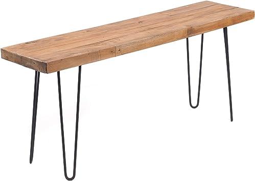 Banc De Table Design Decoratif En Bois Recycle Avec Armature En Metal 50 X 120 Cm