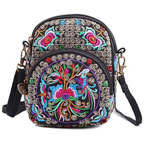 Vintage Embroidered Cute Mini Crossbody Bag for Women Small Shoulder Bag Travel Wallet Bags Cell-phone Pouch Coin Purse (One_Size, Black + Flower 02) ()