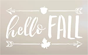 "Hello Fall Stencil with Leaf Acorn Arrow by StudioR12 | Reusable Mylar Template | Paint Wood Signs - Journal - Scrapbook | Craft Country Style DIY Rustic Home Decor | Choose Size (8"" x 5"")"