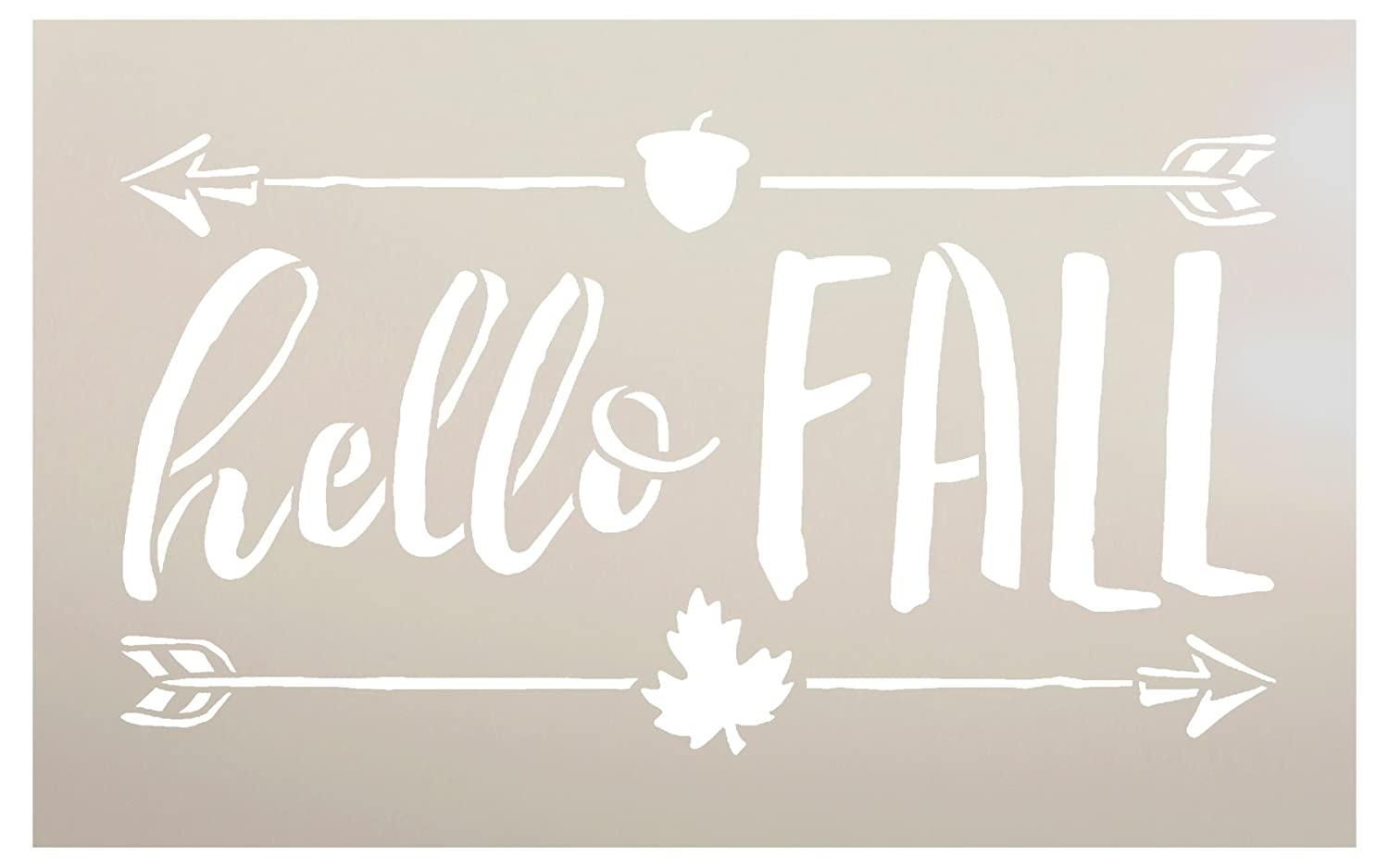 Hello Fall Stencil by StudioR12   Shabby Chic Word Art - Mylar Template   Painting, Chalk, Mixed Media   Use for Journaling, DIY Home Decor -CHOOSE SIZE (12 x 7) Studio R 12