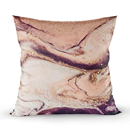 Shorping Throw Pillows for Couch, Zippered Covers Pillowcases 20X20Inch Throw Pillow Covers Coral Colors with Golden Powder Mixed Paints Contemporary ...