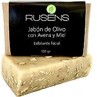 Rusens - Kit de 3 Jabones de Avena con Miel Exfoliante Facial 100% Natural, Limpieza, Suavidad e Hidratación