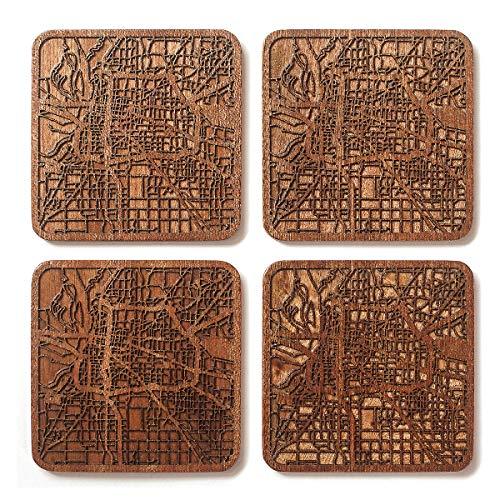 Memphis, TN Map Coaster, Set of 4, Sapele Wooden Coaster with city map, Multiple city optional, Handmade