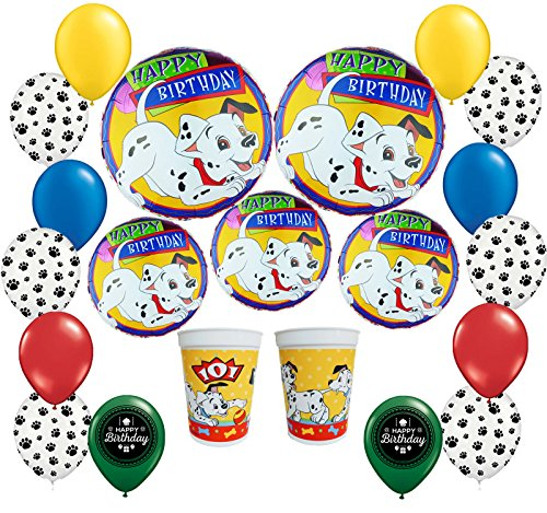 101 Dalmatians Happy Birthday Party Balloon and Plastic Cup Decorating (101 Dalmatians Party Supplies)