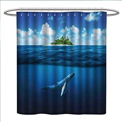Littletonhome Island Shower Curtains Mildew Resistant With Palm Trees Whale Underwater Animals Deep Sea Relaxation