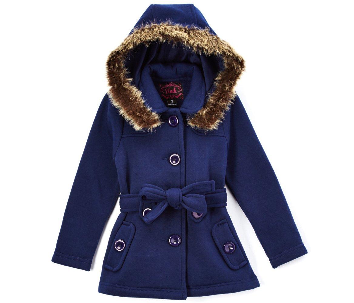unik Girl Fleece Coat with Detachable Fur Lined Hood and Belt, Navy Size Small