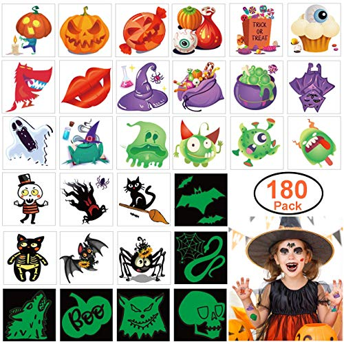 Halloween Idea For Kids (180pcs Assorted Halloween Tattoos, 30 Designs including 36 Glow in the dark Children Tattoos Halloween Trick or Treat Ghost Monster Pumpkin)