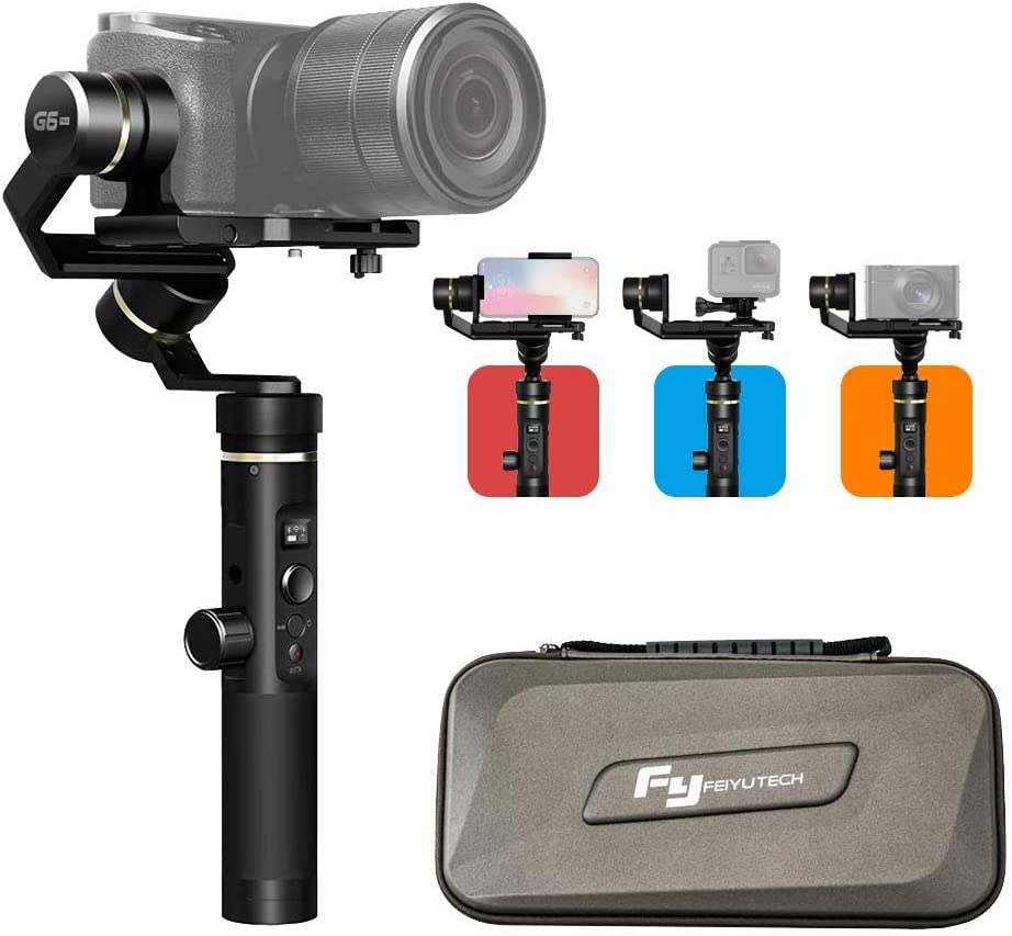 FeiyuTech G6 Plus Handheld 3-Axis Stabilizer Gimbal universal for mobile iphone Smartphone, Sony RX100 A6300 A6400 A6500 Mirrorless DSLM Camera and Action Camera Gopro Hero 6/5/4, SONY RX0, YI-4K