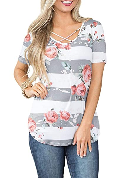 9603646a Women's Short Sleeve Summer Casual Tops Striped Criss Cross V Neck Floral  Printed T Shirt Grey