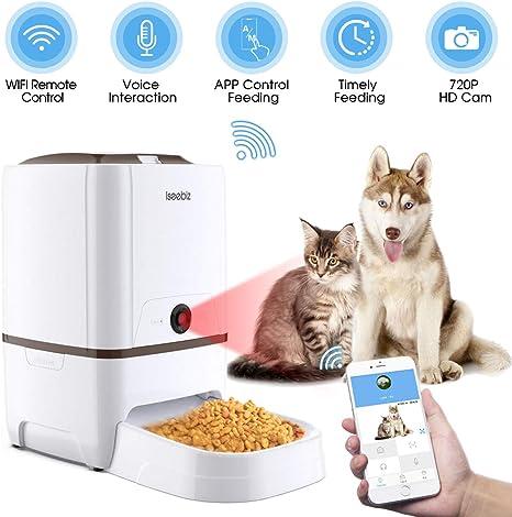 Iseebiz Comedero Automático Gatos/Perros con Cámara HD Dispensador ...