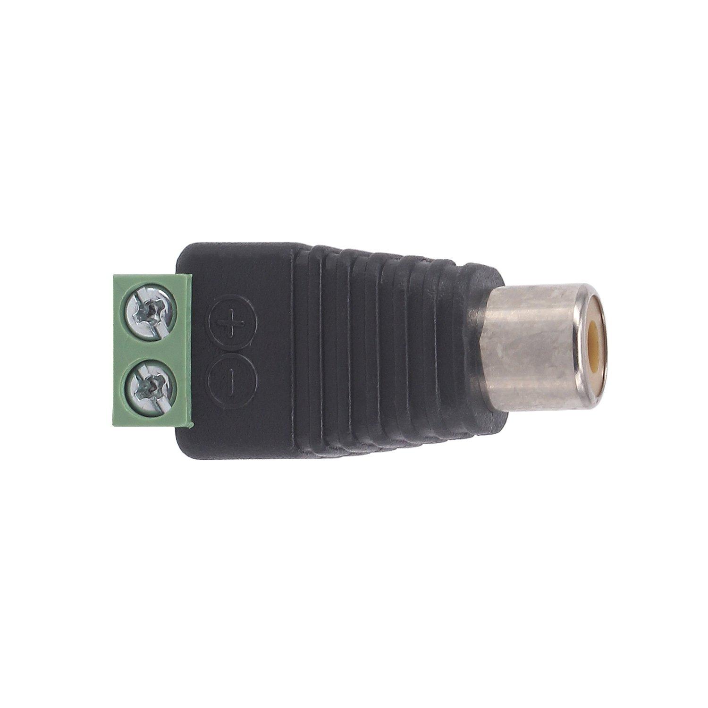 Yilan 10 unidades Phono RCA macho enchufe a AV tornillo terminal Audio//Video Conector adaptador para sistema de c/ámara de seguridad CCTV 10-Pack RCA Female Conector RCA
