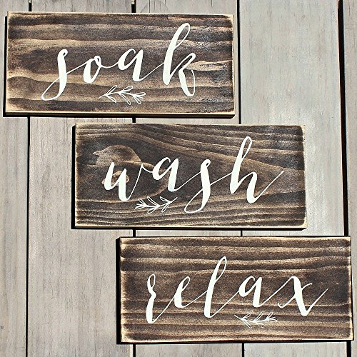 Rustic Wood Signs Wash Soak Relax Bathroom Spa Signs