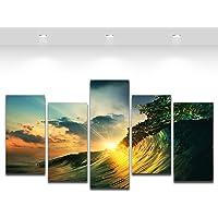 5 Pcs Cavas Artwork Wall Decor-Ocean Surfing Wave Canvas Prints Painting Bedroom Sofa Decor Framed,Large Size 150cmX80cm…