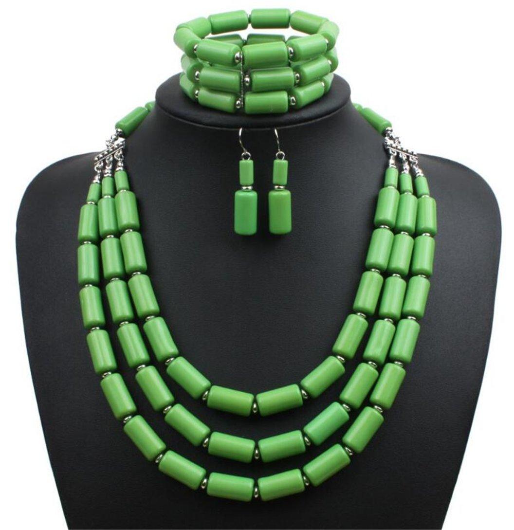Lanue Fashion Handmade Bead Multilayer Statement Necklace Bracelet Earrings Jewelry Set (Green)