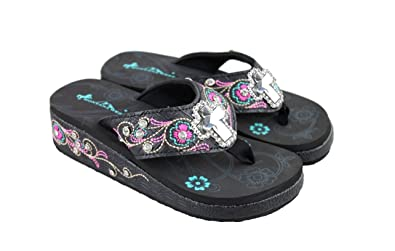 fff2fa0f67dbb0 Montana West Wedge Flip Flops Platform Sandals Bling Mirrored Cross    Embroidered Straps 10