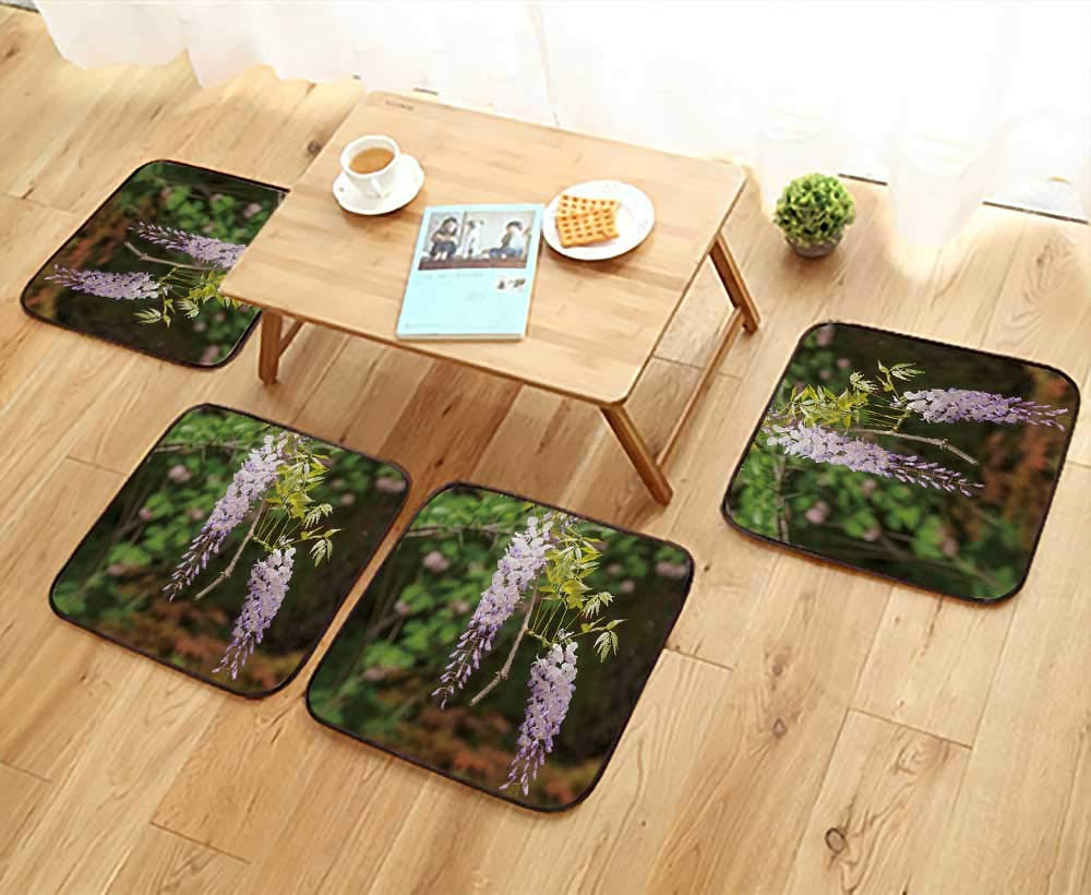 UHOO2018 Universal Chair Cushions SPR Flowers Series Wisteria Trellis in Garden Personalized Durable W15.5 x L15.5/4PCS Set