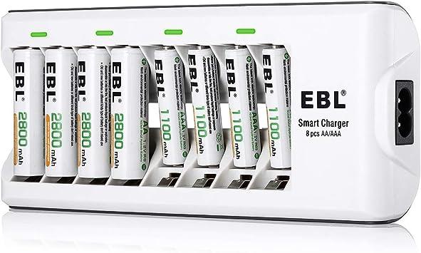 EBL Chargeur de Piles AA AAA, avec 4pcs Piles Rechargeables AA 2800mAh et 4pcs AAA 1100mAh Ni MH, Chargeur de Piles 8 Slots