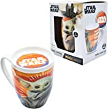 Fun Kids Disney 1754-26 Taza de Porcelana con tapa Star Wars Baby Yoda Mandalorian 385 mililitros
