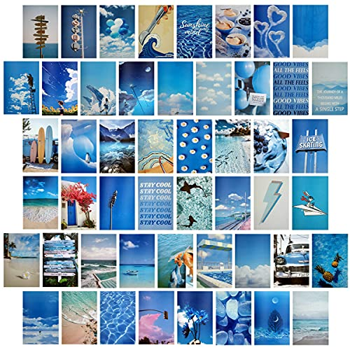 Miyeelove 50PCS Blue Wall Collage Kit Aesthetic Pictures for Wall Collage Office Bedroom Retro Room Decor for Boy Girl Teen Women Poster Art Prints for Dorm Wall Card Photo Image Display Collection