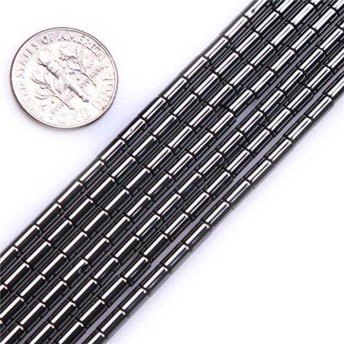 - Natural Semi Precious Gemstone Black Hematite Stone Beads for Jewelry Making Strand 15'' (3x5mm Column)