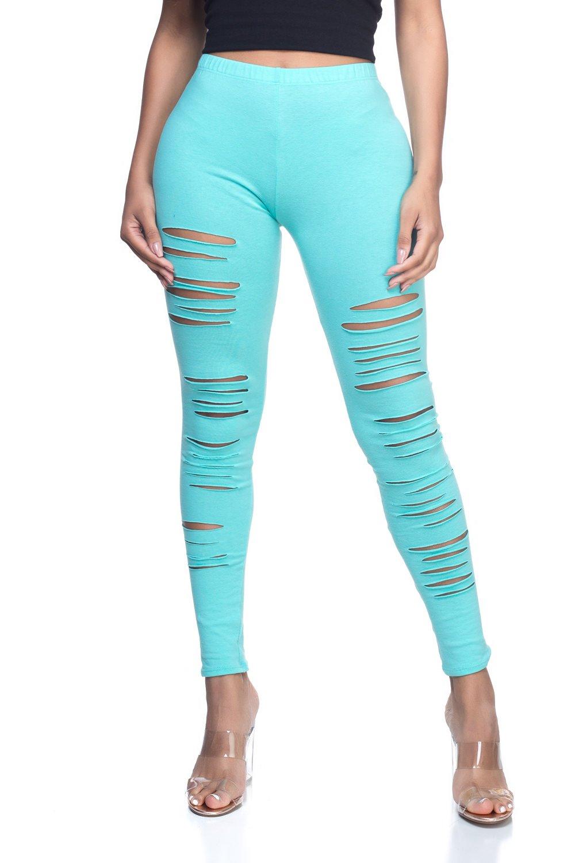 Women's J2 Love Junior Plus Ripped Cotton Legging, 4X, Mint