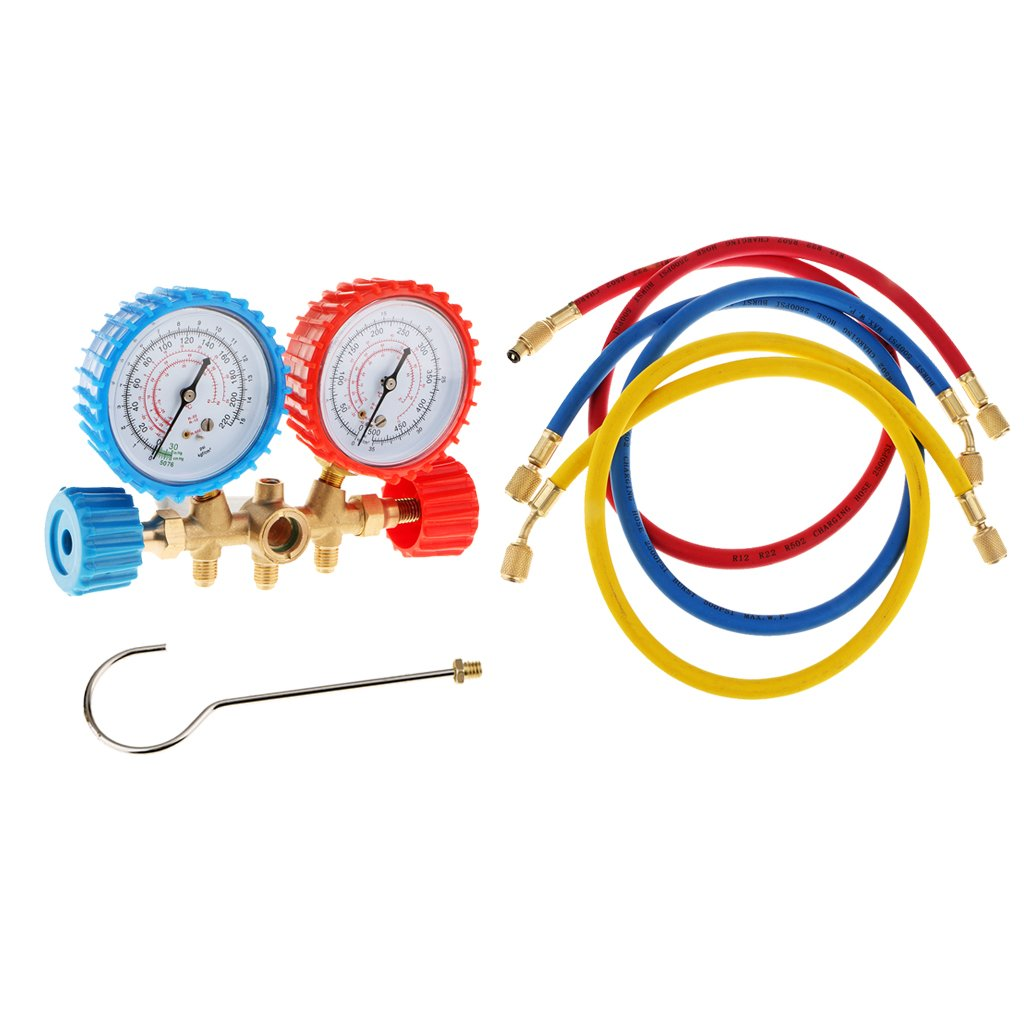 A//C AC Diagnostic Manifold Gauge Set for R22 R12 R134-A R502 R410A R502 Refrigerants Current Divider Meter Tool 3 Way Brass Hose Auto Car Serivice Kit