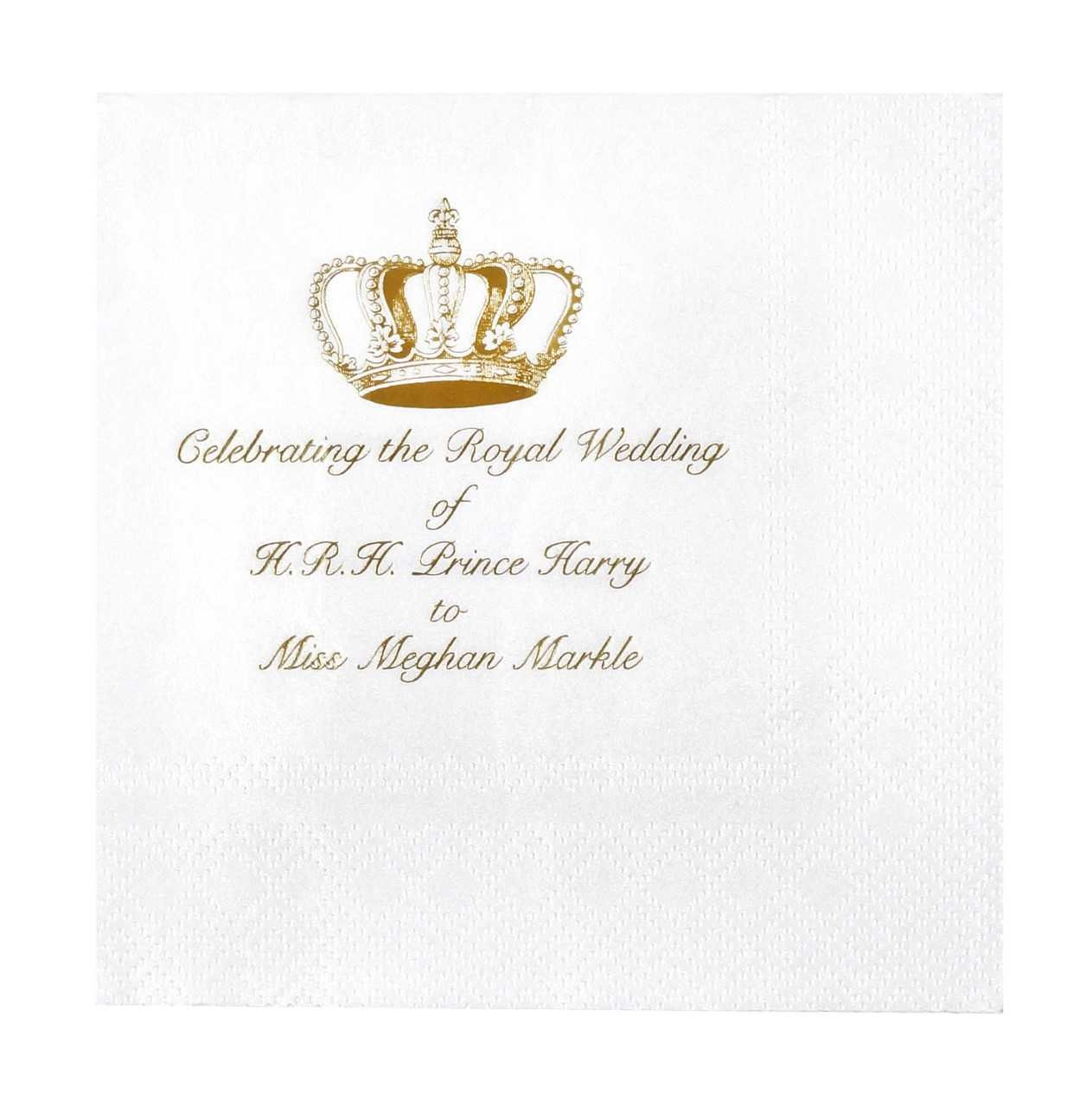 Decorative Things Meghan Markle and Prince Harry Royal Wedding Paper Cocktail Napkins Pk 24