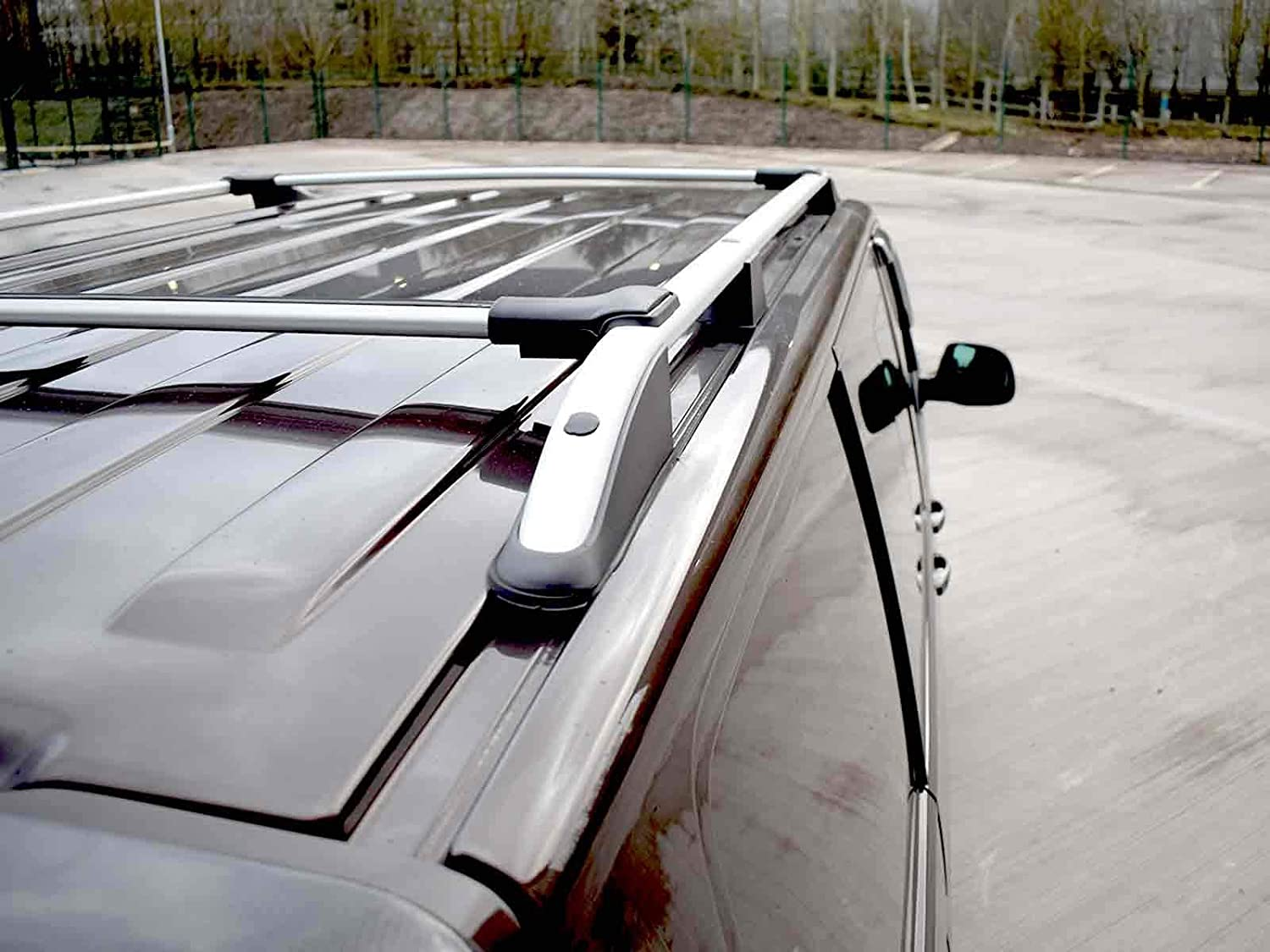 Silver Aluminium Pair of Roof Rails and Pair of Cross Bars Set for VW Transporter T6 SWB 2015 on