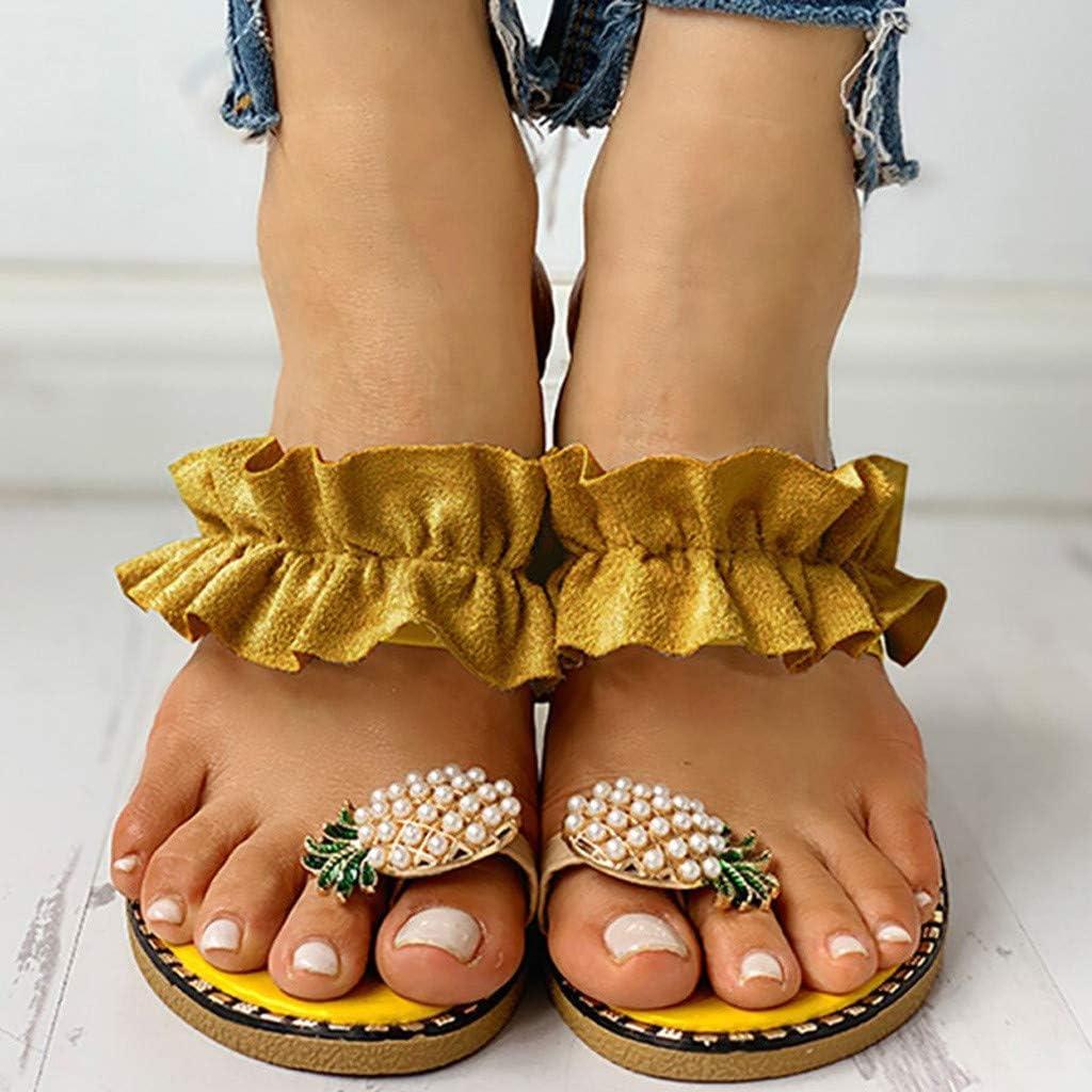 Sandalias de Verano para Mujer piña Perla Casuales Sandalias de Playa Sandalias con Punta Abierta Cómodos Zapatillas Cuidado De Los Pies 35-40 riou Amarillo 2