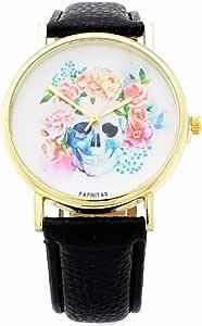BLACKMAMUT Reloj para Mujer Diseño Unico Casual Con una Calavera y Rosas de Fondo Movimiento Analogo Modelo Glanz - Negro