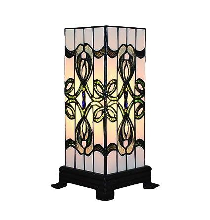 a mano Tiffany mesa de lámparas de hecha de estar Lámparas cuadradas vidrierassala 6 vintage de dormitoriopantallas de de pulgadaspatrones de 4q5jL3RA