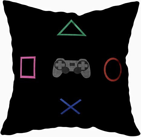 Amazon Com Tomkey Bed Pillows Hidden Zippered 20x20inch Flat Gaming Concept Amp Creative Computer Game Competition Simple Decorative Throw Cotton Pillow Case Cushion Cover For Home Decor Black Home Kitchen