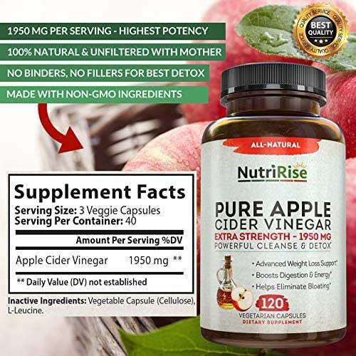 Apple Cider Vinegar Capsules for Weight Loss & Cleanse - 100% Pure Extra Strength 1950mg - 120 Natural Diet Pills for Women & Men for Bloating & Constipation Relief, Digestion & Energy Boost 4