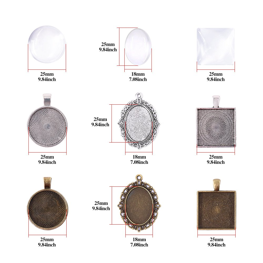 Glarks 72-Pieces Round /& Oval /& Square Pendant Trays with Glass Cabochon Dome Tiles Clear Cameo for Crafting DIY Jewelry Making