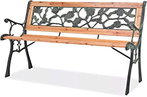 CFG Outdoor Garden Bench, Courtyard Stool, Backyard Bench Garden Bench with Rose-Patterned Backrest 48? Wood