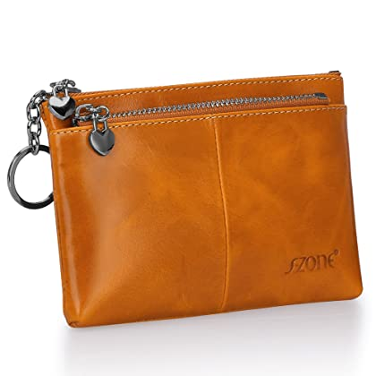 S-ZONE Women s Genuine Leather Mini Wallet Change Coin Purse Card Holder  with Key Ring (Camel) 02d7023dea