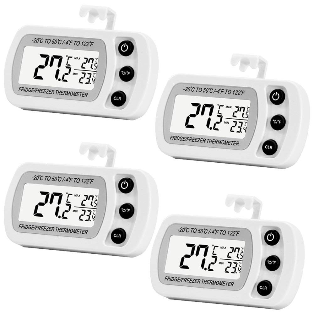 GD Digital Refrigerator Freezer Thermometer,Max/Min Record Function with Large LCD Display (4 Pack)