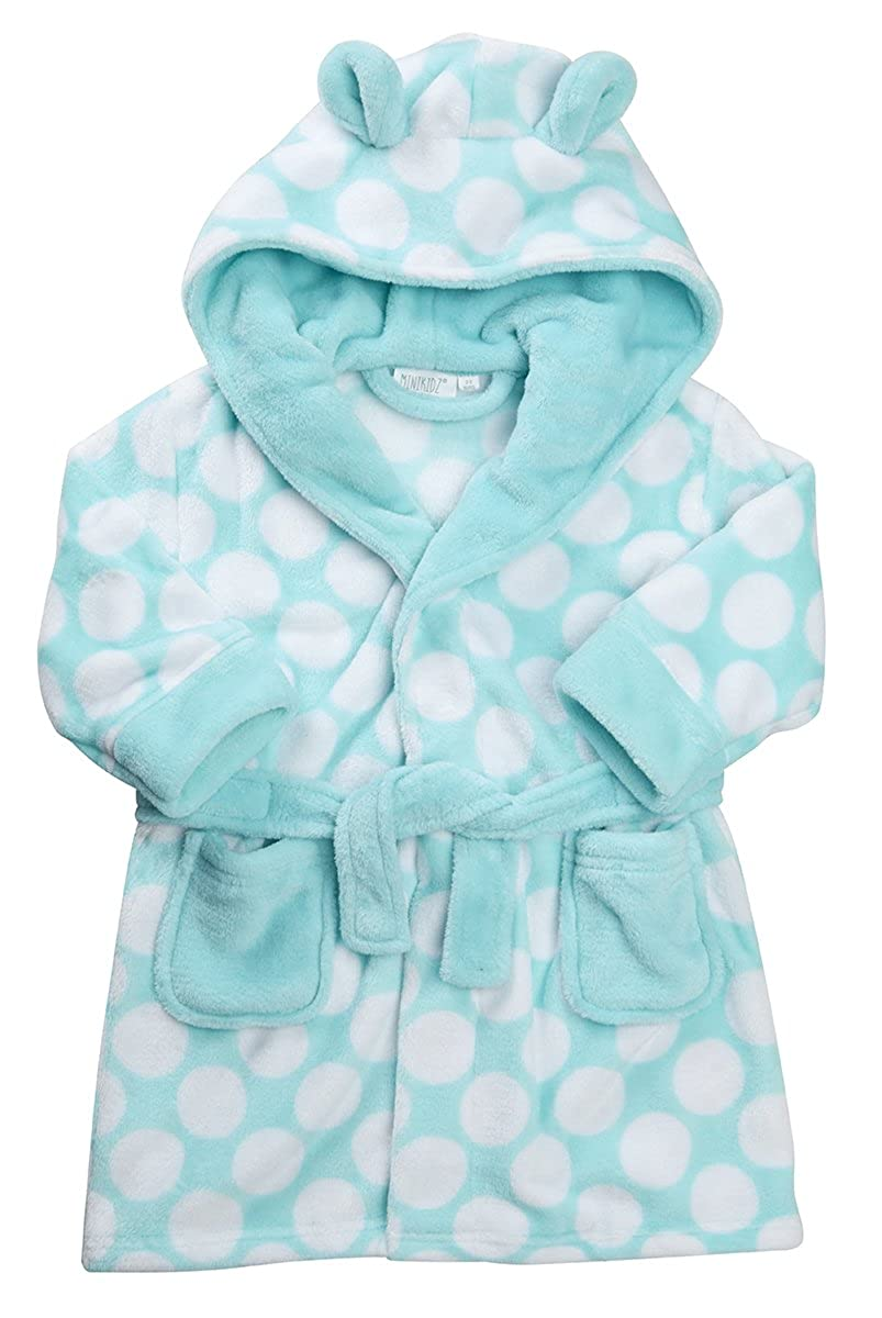Childrens Girls Robe Dressing Gown Nightwear Sleepwear Hooded Spot Polka Dot New MiniKidz