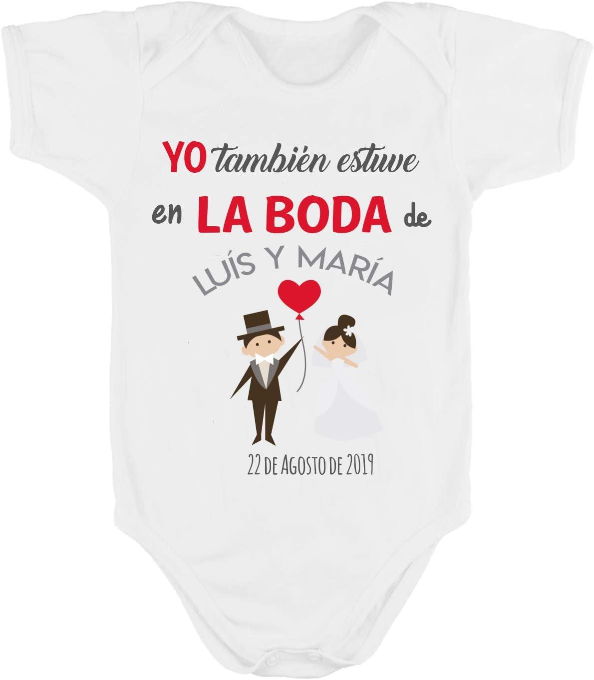 Kembilove Body Boda Personalizado – Body Personalizado Yo También Estuve en la Boda – De Algodón Ultra Suaves y Cómodos – El Regalo Perfecto para Embarazadas o recién nacidos (Mod-12-M larga, 0-3 M)