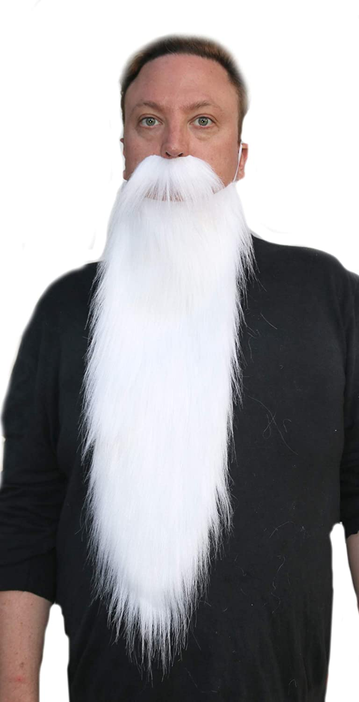 Long White Beard and Mustache Set Wizard Gnome Dwarf Costume Faux Beard