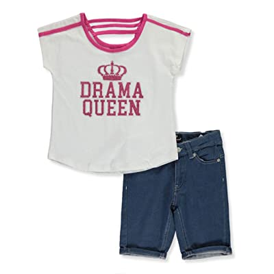 dollhouse Big Girls Dream Queen 2-Piece Shorts Set Outfit - Fuchsia/White, 7-8: Clothing