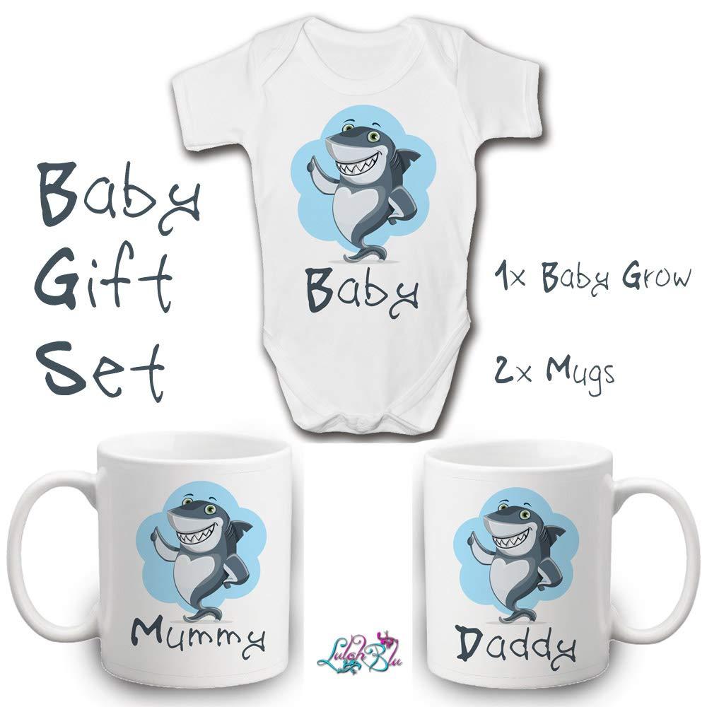 Lulah Blu Mummy Daddy Baby Shark Gift Set 3 Items in Set Newborn to 2 Years