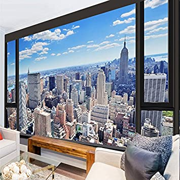 Fototapete fenster aussicht  Ohcde Dheark Custom 3D Fototapete Fenster Aussicht Wandbild ...