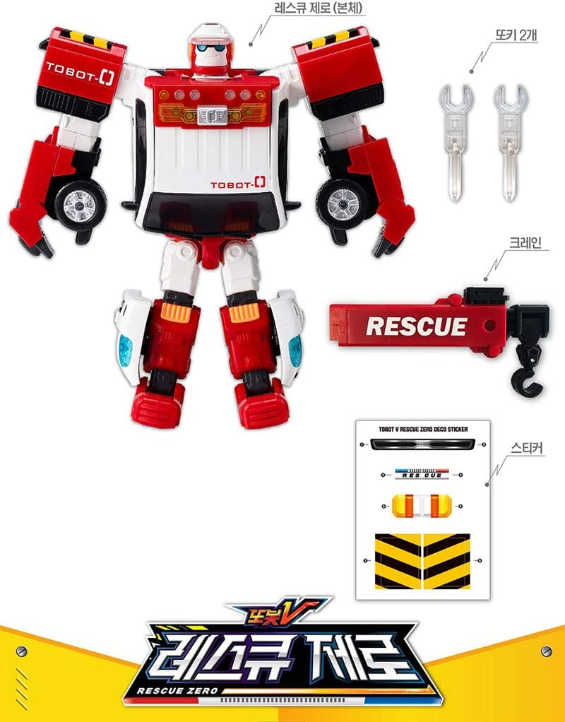Tobot Zero Rescue Tow Truck Transform Robot Character Animation Action Toy