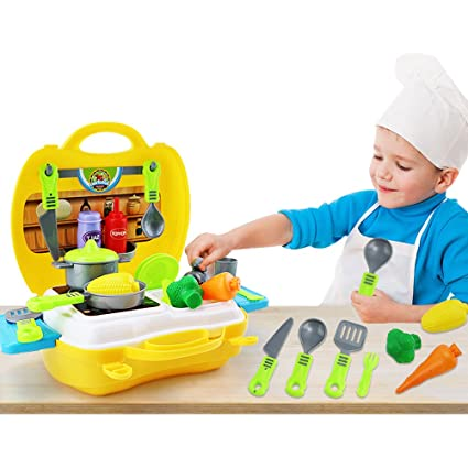 odowalker kitchen cooking 26pcs pretend play toys playset for little girl and boy case - Christmas Presents For Toddlers