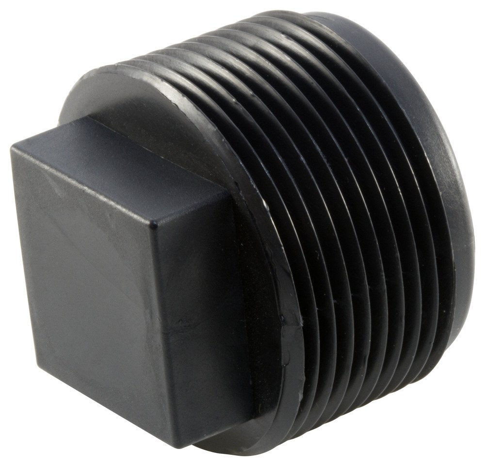 Caplugs QTP151KA1 Plastic Square Head Threaded Plug. TPN-15, PE-HD, To plug NPT thread size 1-1/2-11-1/2'', Black (Pack of 100)