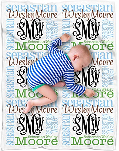 Personalized Baby Name Blanket Monogrammed Baby Shower Gift (Vine Monogram - Earthy 30