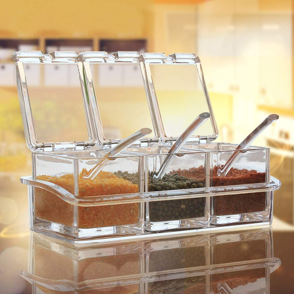 Transparent Flip Cover Seasoning Rack Spice Pots Box Sets Storage Container Condiment Jar with Spoon Kitchen Tool BaojunHT/® A