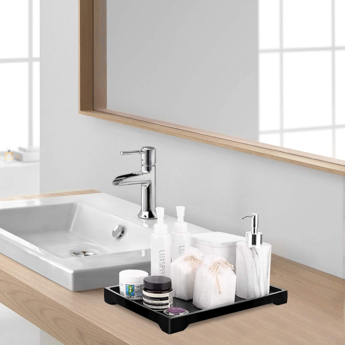 Plant Candles Vanity Organizer Rectangular Resin Tray Plate for Tissues Luxspire Toilet Tank Storage Tray Black Towel etc Soap