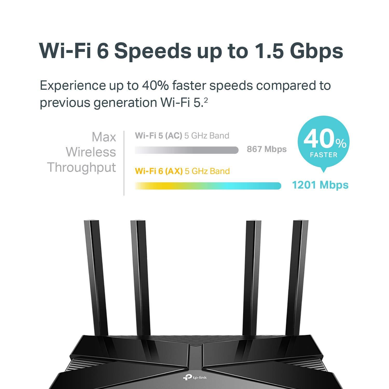 TPLink Wifi 6 AX1500 Smart WiFi Router  80211ax Router 4 Gigabit LAN Ports Dual Band AX